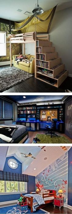 Cool Bedroom Ideas - 12 Boy Bedroom Ideas - - Decorating a boy's bedroom can be hard! I've got 12 cool bedroom ideas for boys that will help you create the perfect space for your big or little guy. Boys Loft Beds, Bunk Beds With Stairs, Cool Bunk Beds, Kid Beds, Bed Stairs, Trendy Bedroom, Cozy Bedroom, Kids Bedroom, Bedroom Decor