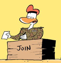 The Army Duck is always on the hunt for new recruits. When he hands you a piece of paper to sign - check the fine print! #army #duck #cartoon http://www.swamp.com.au/characters_establishment.html