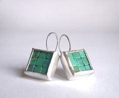 Mosaic Earrings Turquoise Silver by Artesserae.