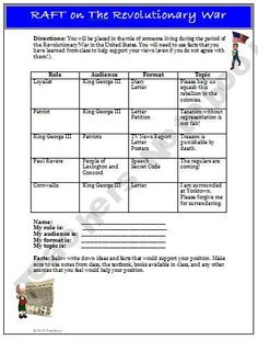 American Revolutionary War RAFT Writing Activity this is so good for differential instruction! for another idea and more information see the text book pg 133 4th Grade Social Studies, Social Studies Resources, Teaching Social Studies, Social Studies Classroom, Student Teaching, Teaching Us History, Teaching American History, History Teachers, History Classroom