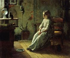 Goldfish in Painting Jonathan Eastman Johnson. Girl and pets, 1856 Figure Painting, Painting & Drawing, Art Through The Ages, Dutch Painters, French Artists, Retro, Cat Art, Contemporary Artists, Art History