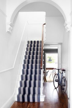 Roger Oates Fitzroy Black stair runner carpet on white painted staircase with oak wood flooring to hallway Staircase Carpet Runner, Hallway Carpet Runners, Carpet Stairs, Stair Runners, Wall Carpet, Rustic Stairs, Wood Stairs, Bedroom Carpet, Living Room Carpet