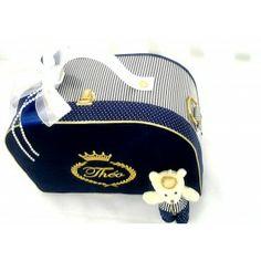 Bolsa M Listras Azul Marinho com Branco e Dourado