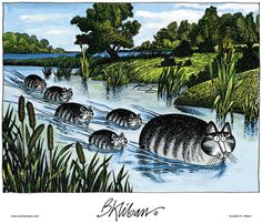 Kliban's Cats.   Kittlings...they're at the Headlands of the Little Mouse River, heading to the Tiny Feethills...dogs can't track them...
