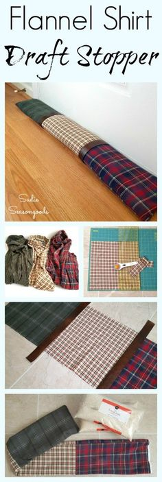 "Who says winterizing your home can't be trendy and decorative? Use some flannel shirts from the thrift store and repurpose them into a patchwork flannel draft stopper to keep the cold air out! Handsome AND functional, with an added ""leather"" touch to complete the mountain cabin / lodge look. Easy, simple, low-sew upcycle DIY craft project that is perfect for the holidays and winter months. #SadieSeasongoods / www.sadieseasongoods.com"