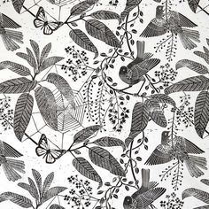 Hand printed wall paper ( lino print ). Marthe Armitage. Very detailed Lino cut but beautiful design. Butterflies and different pieces of flora.