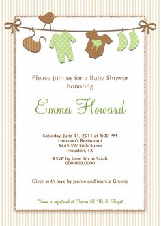 Baby Shower Invitation Baby Clothes / by PinkSkyPrintables on Etsy, $11.00