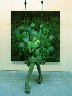 Shintaro Ohata just finished up a solo exhibition at the Yukari Art Contemprary in Tokyo, Japan. He places sculptures in front of paintings! Combining 2D with 3D, he's an emerging young artist who's definitely one to watch.