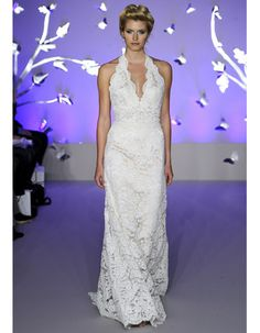 Modern Lace Wedding Dresses from Spring 2012 Bridal Fashion Week Jim Hjelm  Ivory Alencon lace and champagne charmeuse mix in this jaw-dropping dress. Style: 8160, jlmcouture.com