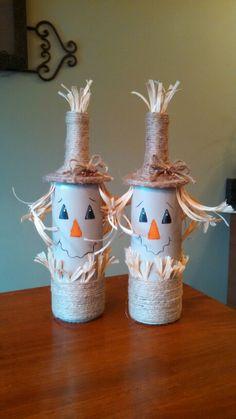 Scarecrow wine bottles