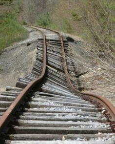 Wouldn't want to ride a train on these tracks.  This can't be good.