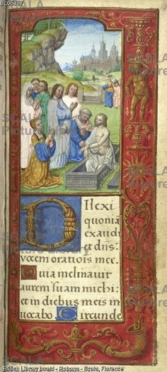 ******** Raising of Lazarus [Whole folio] Office for the Dead at Vespers. Christ blesses Lazarus who rises from his tomb with Martha kneeling. Landscape with walled town in the distance Image taken from Book of Hours. Originally published/produced in France; early 16th century.