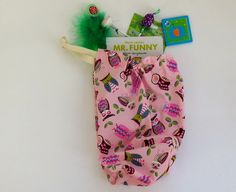 Drawstring party bag pink with blue pink green and by zaninia