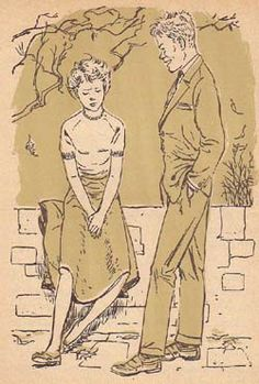 Ben may actually be a good guy underneath that prankster surface. (25) Illustration by Mary Stevens is from the 1956 Cellophane edition of Trixie Belden and the Mystery off Glen Road