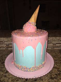 Gender Reveal Cone Drip Cake
