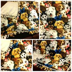 All about puppies. Reversible Double Fleece Fringe Blanket.  www.stylemcollection.com  Message me if you are interested.   stylemcollection@gmail.com  Shipping within the United States Only.