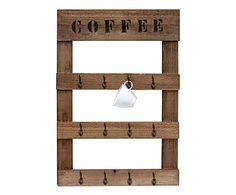 Portatazze da parete in legno Coffee marrone, 49x70x3 cm