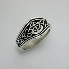Celtic Tapered Band with Anchor Tapered Signet Ring - Available In All Metals - Beautiful Ring by RARUCOM on Etsy https://www.etsy.com/listing/509246411/celtic-tapered-band-with-anchor-tapered