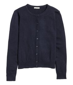 Dark blue. Fine-knit cardigan in cotton with a round neckline. Ribbing at cuffs and hem.