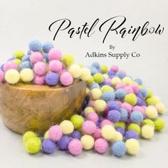 Need to make some Easter decorations? These handmade Wool felt balls are perfect for any project you have in mind! Felt Ball Garland, Robins Egg, Project Yourself, Needle And Thread, Wool Felt, Headbands, Craft Supplies, Pastel, Rainbow