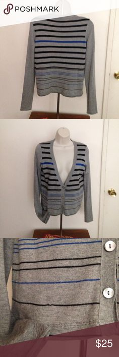 "Barneys New York gray striped button cardigan; S Designed for Barneys New York. 55% silk 33% polyester 12% cotton cardigan. Three button closure. Very soft feel. Three visible minimal thread as shown in photo. 18"" arm hole to arm hole. 20"" shoulder to hem. 15"" shoulder to shoulder. Made in China. Gently worn. Good condition. (Black tee not included), Barneys New York Sweaters Cardigans"