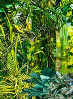"""Rainforest Rhythm"" part of the lush tropical portfolio of featured artist Ruth… Jamaican Art, Flora Und Fauna, Jungle Art, Tropical Landscaping, Tropical Art, Artist Gallery, Leaf Art, Botanical Art, Painting Inspiration"