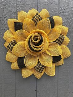 Best 12 Sunflower Door hanger with a rose bud center, this wreath is ready to ship and measures In order to ensure the longevity of the wreath I ask that you keep it from direct exposure to the sun and harsh elements that will cause fading or wear. Sunflower Door Hanger, Sunflower Burlap Wreaths, Burlap Flowers, Fabric Flowers, Wreath Crafts, Diy Wreath, Wreath Ideas, Deco Mesh Wreaths, Fall Wreaths