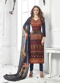 Maroon Wholesale Straight Salwar Kameez In Pashmina Fabric