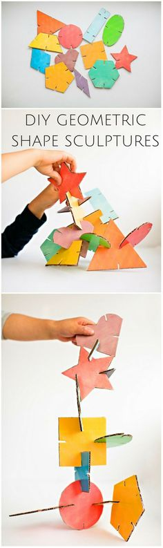 Make these fun DIY Geometric cardboard sculptures with the kids. Free printable template with 12 colored shapes included!