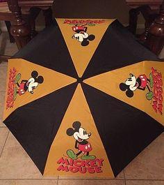 Vintage Collectible Mickey Mouse Umbrella Disney Memorabilia Rare Yellow Black
