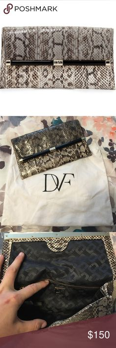 DVF Snake Clutch DVF Authentic Snake Clutch! Cleaning out closet and getting rid of things no longer used. This was used once for a wedding to go with bridesmaid dress. Diane von Furstenberg Bags Clutches & Wristlets