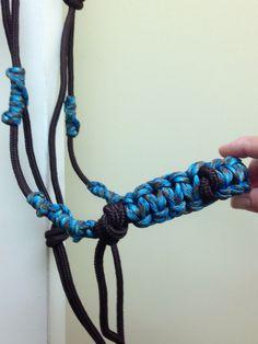 Teal on chocolate brown rope halter $30