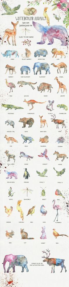This is a collection of 45 watercolor animal silhouettes. They were painted in a wet watercolor technique. Great to use in logo design, business cards, avatars, birthday invitations, baby shower cards