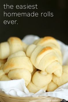 Easy Homemade Rolls Recipe – Six Sisters' Stuff Easy Homemade Rolls, Homemade Dinner Rolls, Dinner Rolls Recipe, Homemade Recipe, Homemade Breads, Dinner Recipes, Dinner Ideas, Bun Recipe, Roll Recipe