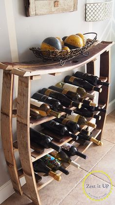 Wine or bottle rack made out of wine or whiskey barrel staves