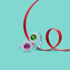 Tiffany Soleste® rings in platinum with diamonds: pink sapphire and tsavorite. #TiffanyPinterest