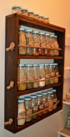 Rustic Wooden Spice Rack – rustic home diy Spice Rack Rustic, Diy Spice Rack, Wooden Spice Rack, Spice Shelf, Pallet Spice Rack, Spice Rack For Kitchen, Spice Rack Made From Pallets, Build A Spice Rack, Rotating Spice Rack