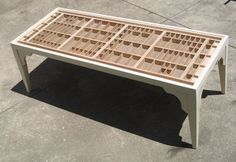Items similar to wooden coffee table, with a top made from repurposed wooden letterpress type cases, unfinished, in which you can display collections. on Etsy Repurposed Furniture, Custom Furniture, Table Furniture, Woodworking Blueprints, Woodworking Plans, Printers Drawer, Displaying Collections, Sustainable Design, Cocktail Tables