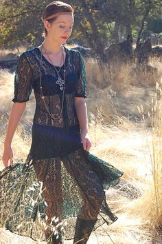 Lace Dress Vintage Dark Forest Green Sheer Lace by enidandedgar, $48.00