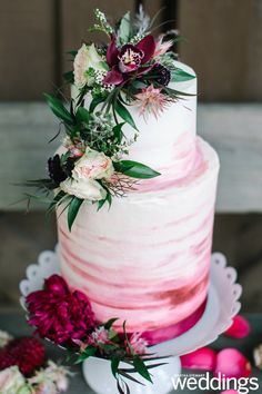 Sweet Lola used varying shades of redincluding blush magenta and crimsonto create this blended ombré look. Sweet Lola used varying shades of redincluding blush magenta and crimsonto create this blended ombré look. Floral Wedding Cakes, Elegant Wedding Cakes, Beautiful Wedding Cakes, Wedding Cake Designs, Wedding Cake Toppers, Beautiful Cakes, Rustic Wedding, Elegant Birthday Cakes, Elegant Cakes