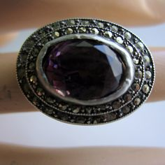 Vintage Sterling Silver Art Deco Ring Amethyst and Marcasites cocktail ring