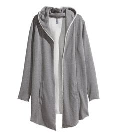 Light gray sweatshirt cardigan with jersey-lined hood, shawl collar, and side pockets.│ H&M Divided Guys