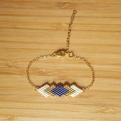 Bracelet Gaia Bleu marine Plaqué Or et tissage en perles de verre Miyuki : Bracelet par ccedille-bijoux