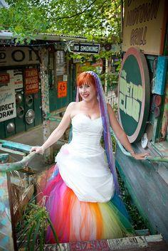 Love this rainbow wedding gown for the off beat bride! Lgbt Wedding, Wedding Gowns, Bridal Veils, Rainbow Wedding Dress, Alternative Wedding Dresses, Rainbow Fashion, Cute Kids Fashion, Wedding Inspiration, Wedding Ideas