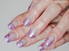 Ida-Marian kynnet / Gel nails with silver and purple glitter gradient / #Nailart #Nails