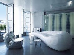Karl Lagerfeld apartment in Paris -2012 / Marc Newson chair / Amanda Levete sofa