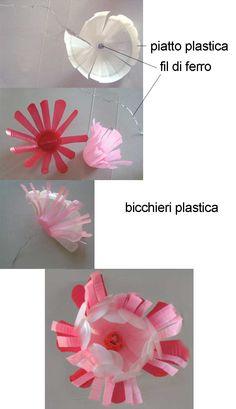 fiore con bicchieri di plastica