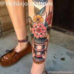 traditional tattoo flowers in vase - Google Search