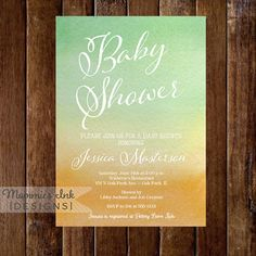 Watercolor Baby Shower Invitation  Green and Yellow by MommiesInk, $14.00