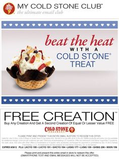 photo about Cold Stone Printable Coupon identify Chilly stone ice product discount coupons printable : Ninja cafe